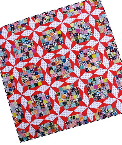 "Super lovely ""Reproduction Vintage Star"" quilt by Rita of Red Pepper Quilts. I love the way the polka dots pop here! The color scheme is fabulous!"