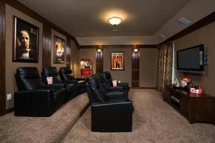 See how the decor really adds a lot to this room. #hometheaterdecor is so important in finishing you #hometheater #hometheaterdesign