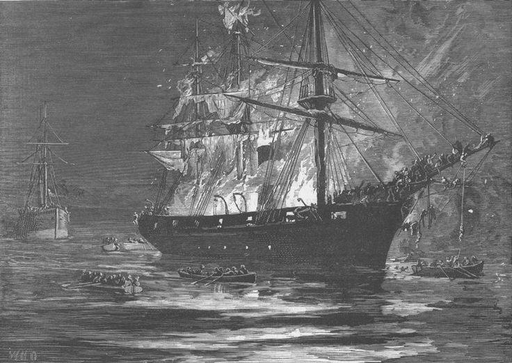EGYPT. Ship Latif burning, Red Sea, antique print, 1877