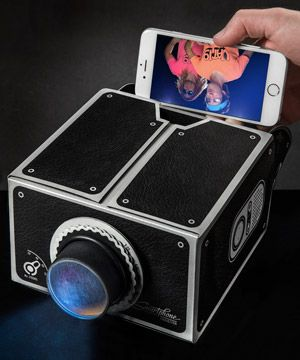 Smartphone Projector - projects image 8x larger with a simple cardboard box and glass lens