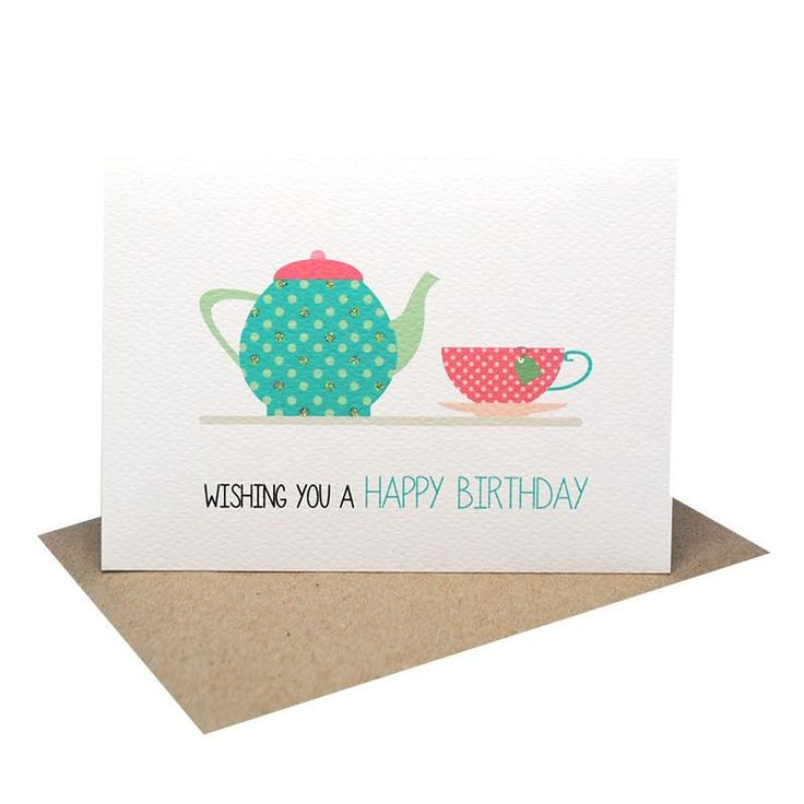 A bright handmade Birthday Female Card featuring a bright colourful Tea Pot with a Teacup and the words Wishing you a Happy Birthday. A fun greeting card to give to your mums, aunties, friends etc.