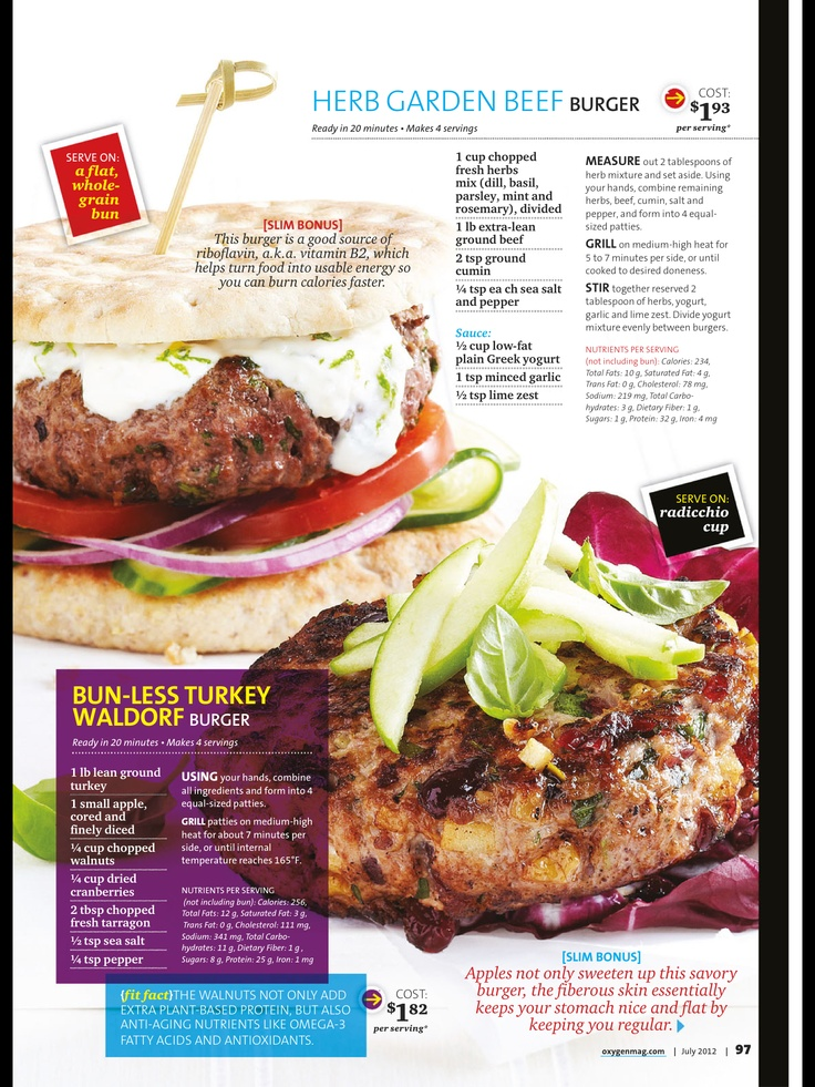 2 Recipes  1)Bun-less Turkey Waldorf    2) Herb Garden Beef burger
