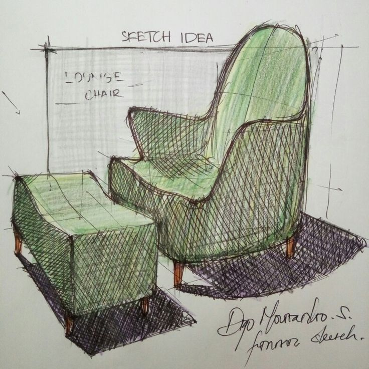 My freehand sketch to get inspiration for lounge chair