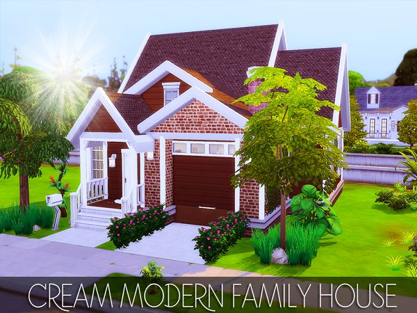 The Sims 4 Cream Modern Family House No Cc Modern Family House