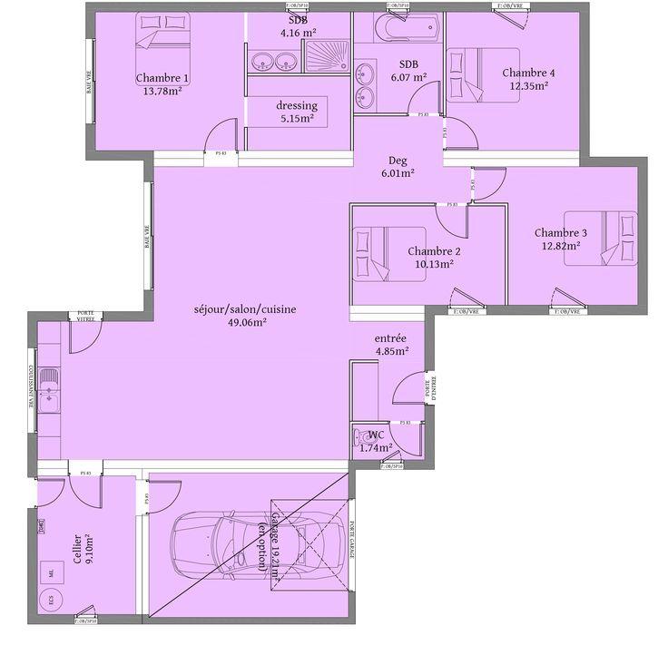 11 best PLANS images on Pinterest Architecture drawing plan, Floor - plan maison en l 100m2