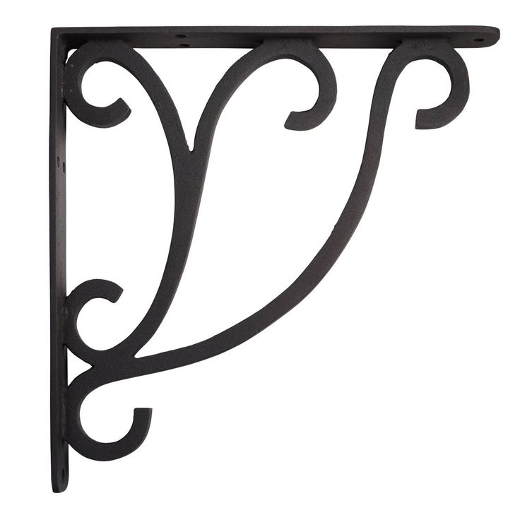 Minimalist+Scroll+Cast+Iron+Shelf+Bracket