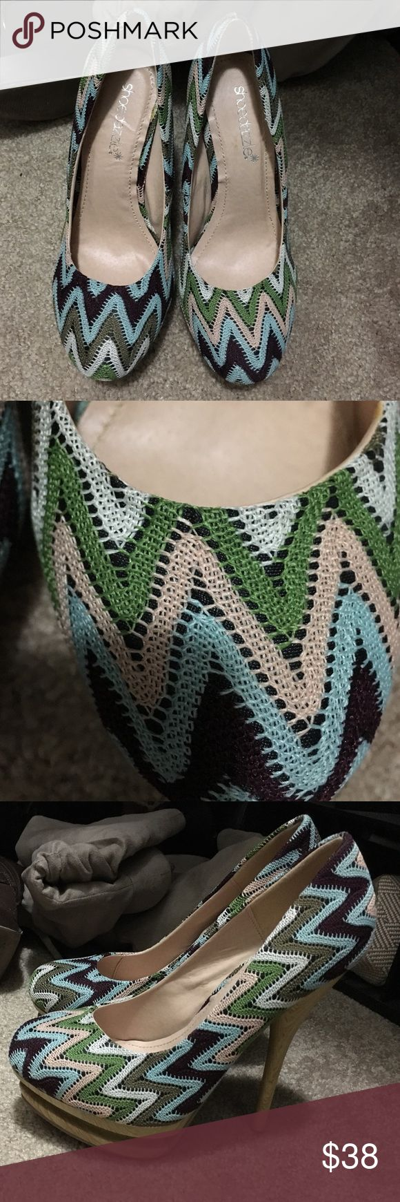 Beautiful crochet heels Never worn. NWOT. Great condition. 4+ inch wooden heel. Reasonable offers welcome. Comes with pink shoe dazzle bag Shoe Dazzle Shoes Platforms