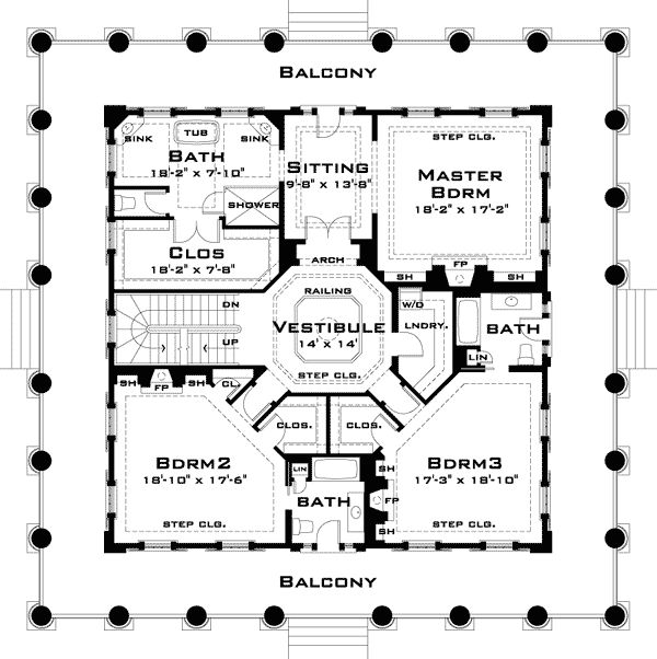 Classic greek revival with video tour southern for Plantation floor plan