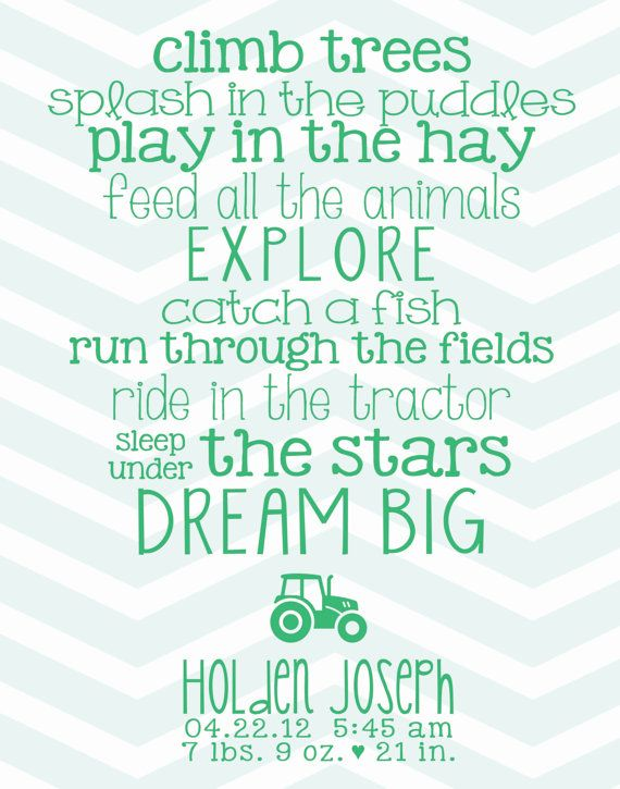 Nursery Art Print // Birth Stats // Farm by sixteensunbuckles, $15.00