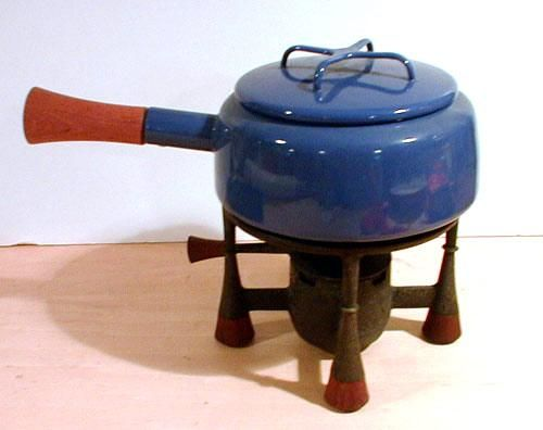 Dansk blue fondue pot. Fill this with cheese dipping sauce.