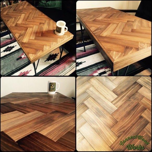 ヘリンボーン #ローテーブル テーブル・机 K.M.Y ハンドメイド通販・販売のCreema