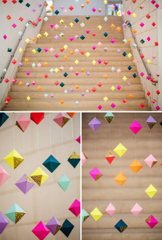 Decoração com barbante e papel colorido para festa infantil criativa