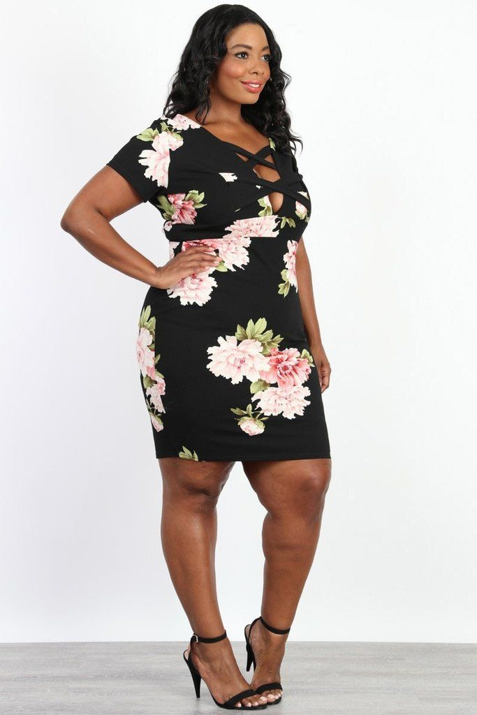 06e84b8a8 Plus Size Front Cross Floral Bodycon Dress in 2019 | Curves are ...