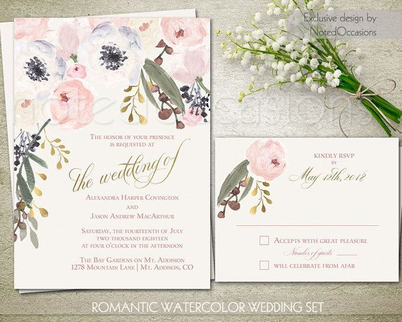 Blush pink and gold accented Watercolor floral wedding invitation set perfect complement for a shabby chic, rustic, boho chic, or barn wedding.