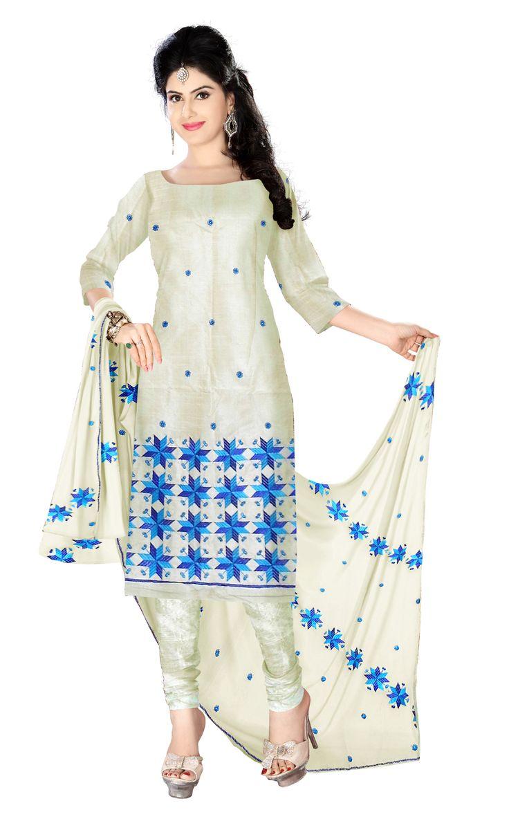 Unstitched Phulkari Suit Piece Cotton Silk- Cream&Blue - copy