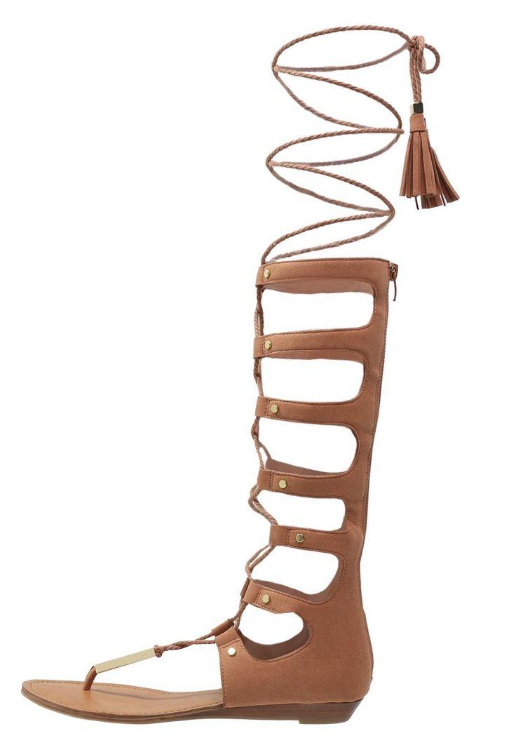 ALDO MARIANNE Japonki sandały sznurowane do kolan gladiatorki wysokie natural