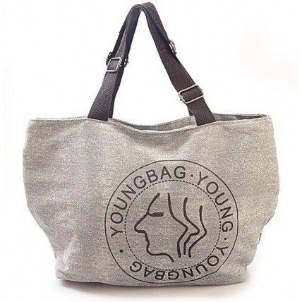 40 YOUNGBAG™ Canvas tote shoulder bag. Grey / khaki