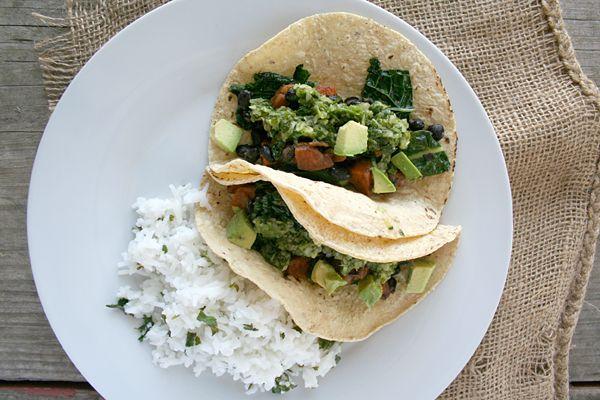 black bean, sweet potato, and kale tacos with cilantro lemon rice ...