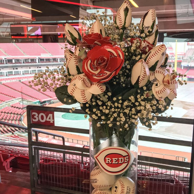 A personal favorite from my Etsy shop https://www.etsy.com/listing/272003524/cincinnati-reds-baseball-arrangement