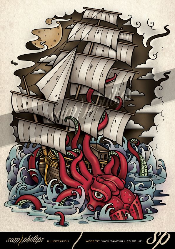 Kraken Vs Ship Tattoo Design by Sam Phillips. www.samphillips.co.nz