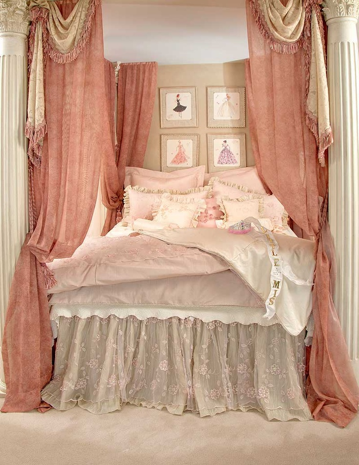 Love this shabby chic bed / use my pillars and put up draped curtains.