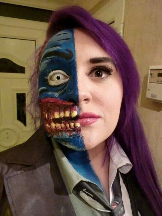 two face costume makeup cosplay cosplay pinterest