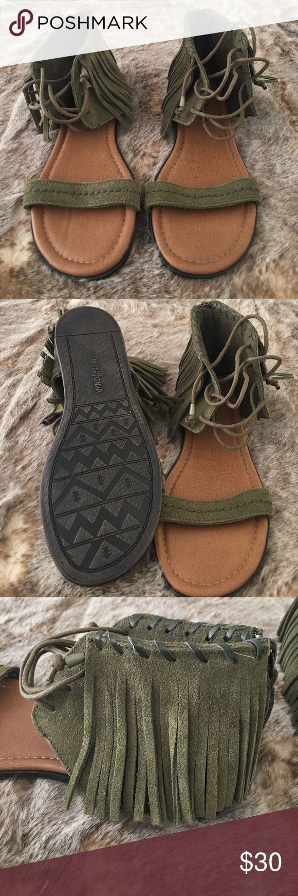 Minnetonka Olive Green Leather Gladiator Sandals New without box. Never Worn. Minnetonka Brand. Women's size 6, Medium. Fringe on outside & laces up. Zipper on back. Genuine Leather. Gladiator Style. Minnetonka Shoes Sandals