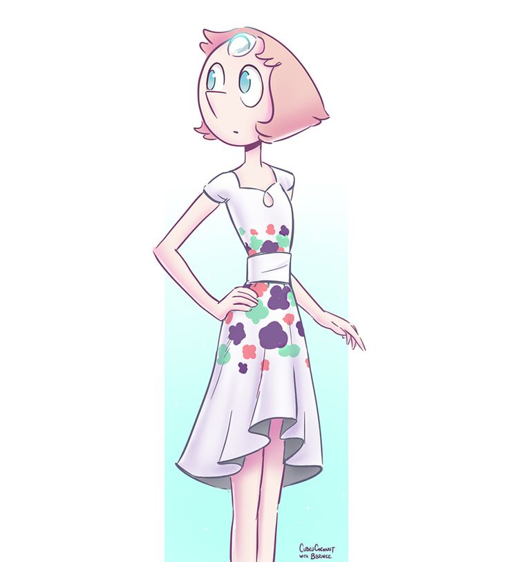 "cubedcoconut: ""Another drawing of Pearl wearing a dress designed my talented follower @bbrinee! """
