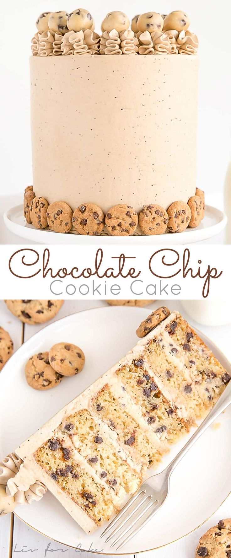 This Chocolate Chip Cookie Cake has brown sugar chocolate chip cake layers, a co…