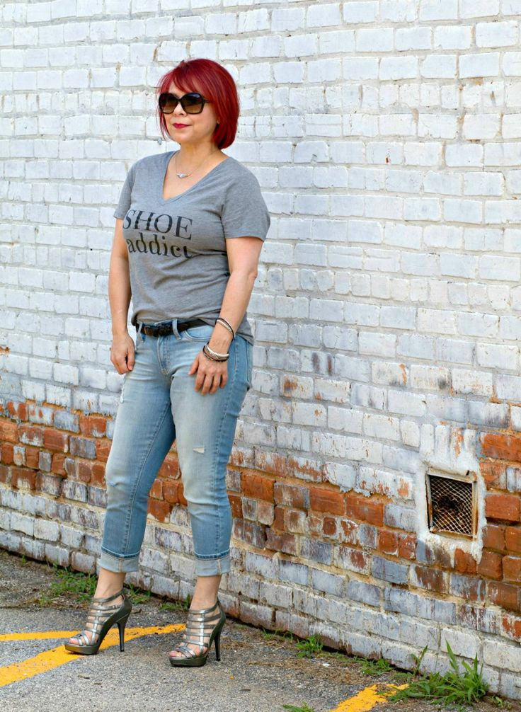 Shoe Addict Tee, Distressed Jeans Look, Weekend Wear, Fashion over 40, Graphic tee style, Silver Cage Heels