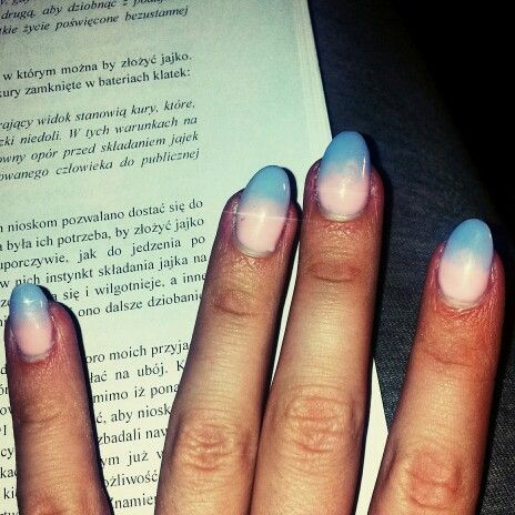 ombre, nails, design, blue and pink, spring