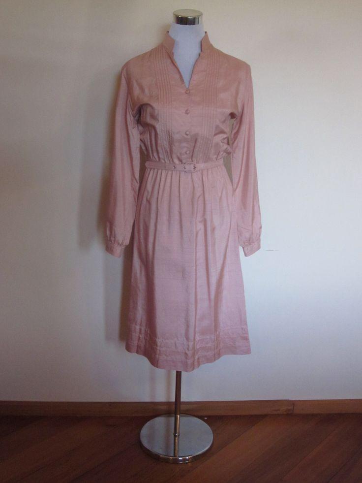 VINTAGE authentic 1960s retro designer rose pink blush belted secretary dress (equiv sz us 8, nz/au/uk 12, eu 40) by shopblackheart on Etsy