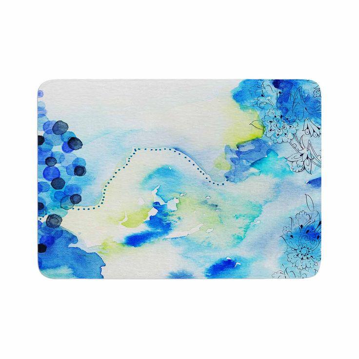 """Li Zamperini """"Deep Blue Sea"""" Teal Watercolor Memory Foam Bath Mat"""
