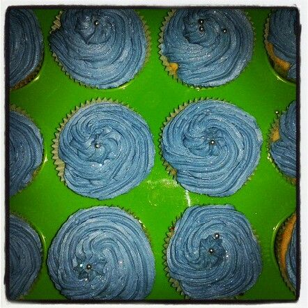 Blue cupcakes with silver balls