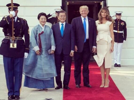 June 29, 2017 -  evening hosting President Moon, his wife & delegation for working dinner @WhiteHouse by Melania Trump