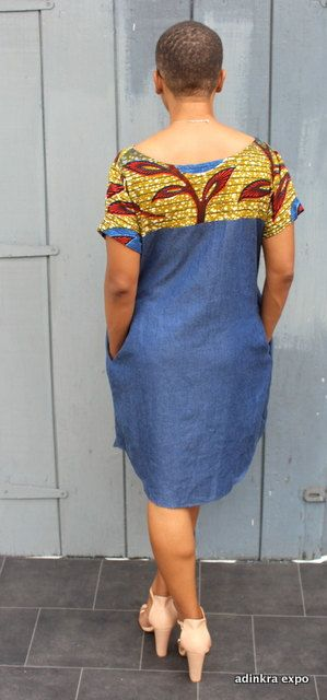 Denim and African Print Dress by AdinkraExpo on Etsy ~African fashion, Ankara, kitenge, African women dresses, African prints, African men's fashion, Nigerian style, Ghanaian fashion ~DKK