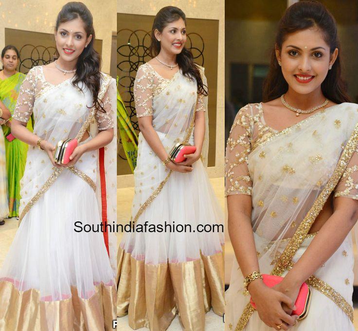 Madhu Shalini in a White Half Saree photo