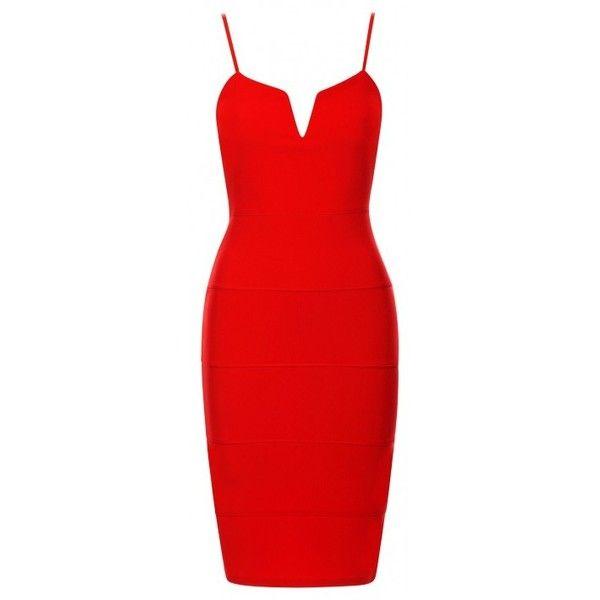 Zula Red Plunge 'V' Neck Sleeveless Bandage Bodycon Dress ($1.44) ❤ liked on Polyvore featuring dresses, plunging neckline dress, plunge neck dress, bodycon dress, bandage dress and red party dresses