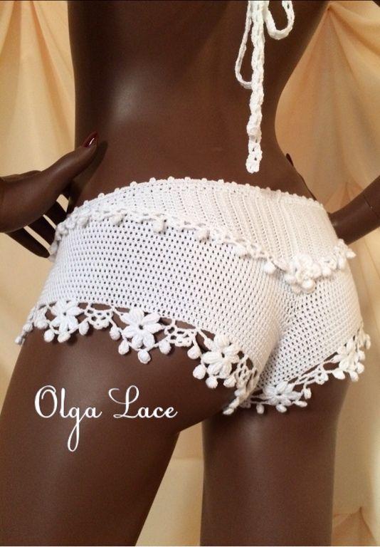 Купить Вязаные шорты от Olga Lace - шорты, вязаные шорты, белоснежные шортики, кружевные шорты