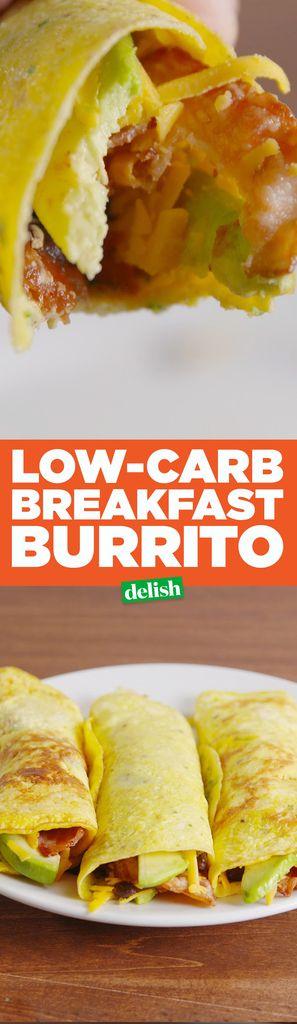 Low-Carb Breakfast Burritos - Delish.com egg burrito with salsa black beans avocado and bacon.