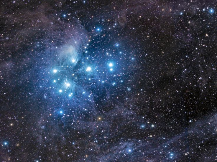 The nebula of Pleiades or seven sisters. This mosaic of 5 images cover a field of nearly 70 light years. In the vicinity of the Pleiades, there are beautiful reflection nebulae. Credit & Copyright: John Davis