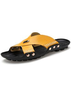 Sandals Yellow Backless Cut Out Cowhide Carbon Rubber Sole Mens Sandals