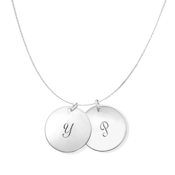 A delicate sterling silver chain adorned with two personalised hand stamped…