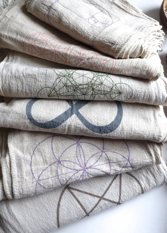 SET OF 3 --- Sacred Geometry Crystal Grid Cloths ::::::::::::::::::::::::::::::::::::::::::::::::::::::::::::::::::::  This listing is for a set of