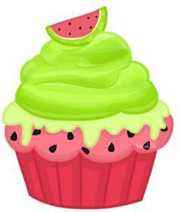 Hot pink neon green watermelon cupcake