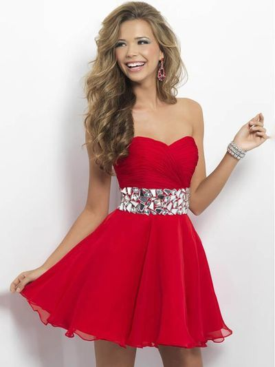 RedChiffon Party Dress Cocktail Dress Unique Prom Dress