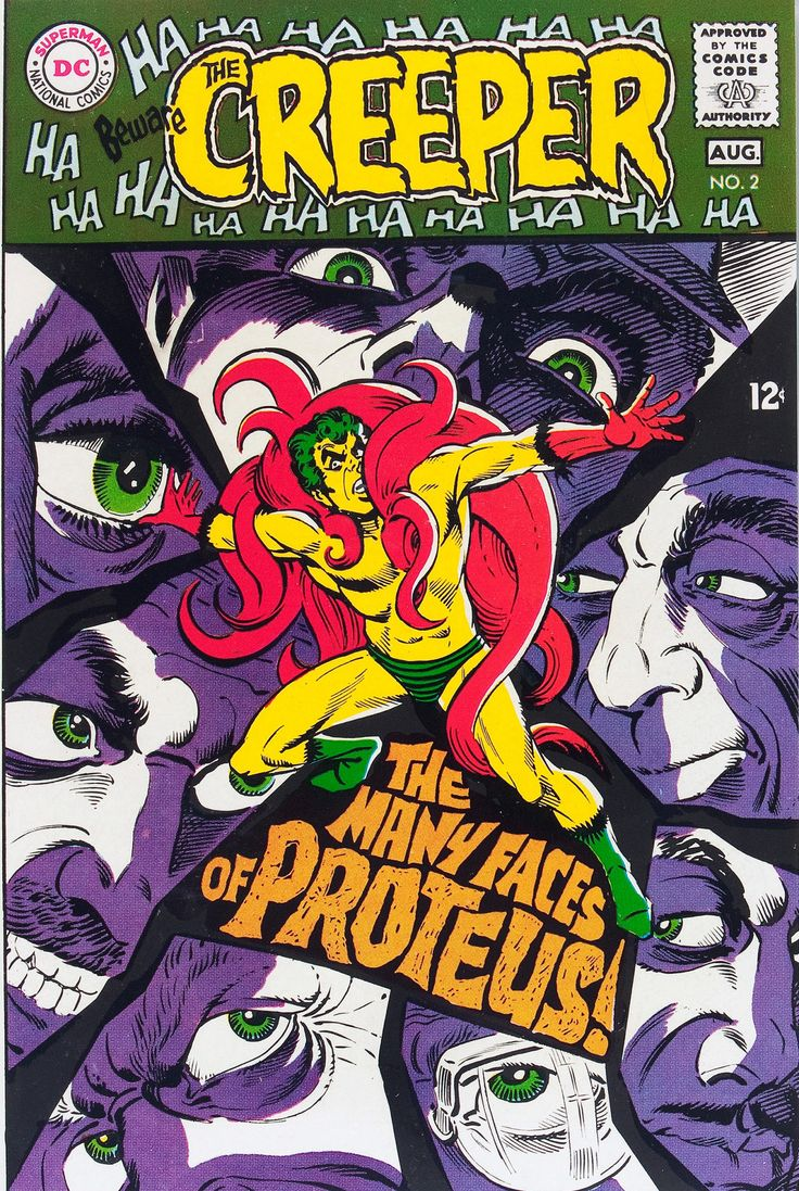 Original and final cover art by Steve Ditko from Beware the Creeper #2, published by DC Comics, July 1968. | One of Ditko's best covers.