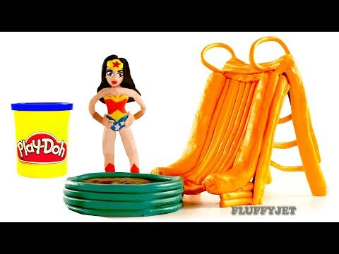 GIANT WATER SLIDE Wonder Woman Fun Inflatable Kids Toys Marvel Thor SuperHeroes PLAY DOH Stop Motion - YouTube