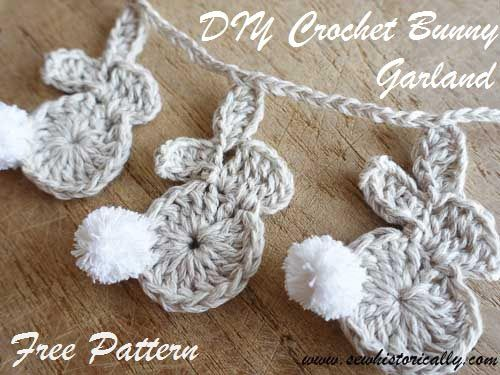 DIY Crochet Easter Bunny Garland - Free Pattern | Sew historically - Featured at the Home Matters Linky Party 128