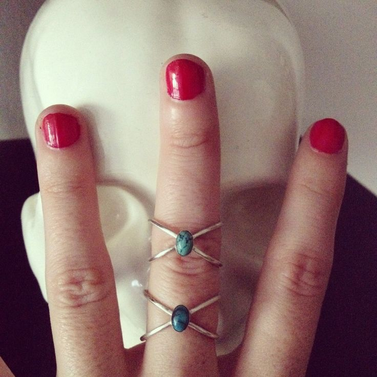 RING X in sterling silver with turquoise natural bead de Crystallites en Etsy
